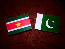 Suriname flag with Pakistan flag on a tree stump isolated Stock Photography
