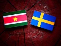 Suriname flag with Swedish flag on a tree stump  Royalty Free Stock Photo