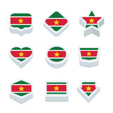Suriname flags icons and button set nine styles Stock Photos