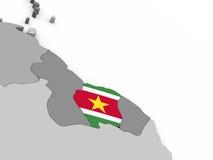 Suriname on globe with flag Stock Image