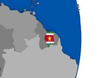Suriname on globe with flag Stock Photos
