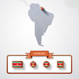 Suriname info card. Suriname on the map of South America with flags Stock Image