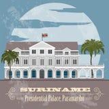 Suriname landmarks. Presidential Palace in Paramaribo. Retro sty Royalty Free Stock Image