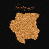 Suriname map filled with golden glitter. Royalty Free Stock Photo