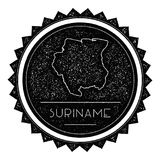 Suriname Map Label with Retro Vintage Styled. Suriname Map Label with Retro Vintage Styled Design. Hipster Grungy Suriname Map Insignia Vector Illustration Royalty Free Stock Photo