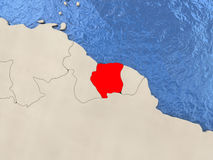 Suriname on map Stock Image