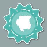 Suriname map sticker in trendy colors. Stock Images