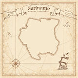 Suriname old treasure map. Stock Photo