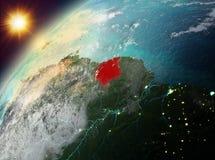 Suriname op aarde in zonsondergang Royalty-vrije Stock Afbeelding