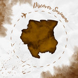 Suriname watercolor map in sepia colors. Royalty Free Stock Photography