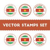 Surinamer flag rubber stamps set. National flags grunge stamps. Country round badges collection Royalty Free Stock Image