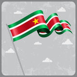 Surinamese wavy flag. Vector illustration. Stock Photography