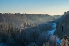 surise d'hiver au-dessus des champs de campagne et forêt dans le froid image libre de droits