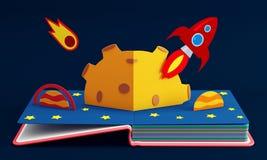 Surja el libro con Rocket In Space Fotos de archivo libres de regalías