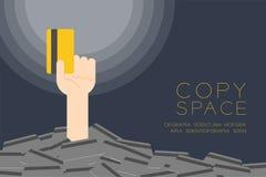 Surja la mano que sostiene la mejor tarjeta de crédito entre mucho crédito libre illustration