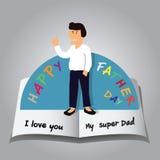 Surja la tarjeta del día de padres feliz Foto de archivo