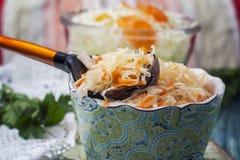 Surkål eller sur kål i lantlig stil soup för ryss för borschtcloseupkokkonst Royaltyfria Foton