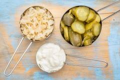Surkål, gurkaknipor och yoghurt arkivfoton