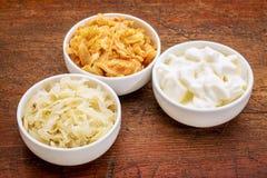 Surkål, kimchi och yoghurt fotografering för bildbyråer