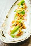 Surowa świeża tuńczyka rybiego mięsa sałatka z avocado i mango Obrazy Royalty Free