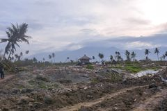 Surowa Awaryjna trzęsienia ziemi stopienia Petobo centrala Sulawesi zdjęcia royalty free