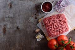 Surowa minced wieprzowina dla hamburgeru Obraz Royalty Free