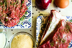 Surowa wołowina i ziemi wołowina Zdjęcie Stock