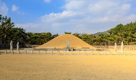 Surowangneung, Tomb of King Suro, which is a heritage preservation place in Gimhae city. Gimhae, South Korea - March 10, 2018 : Surowangneung, Tomb of King Suro stock photos
