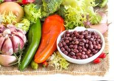 Surowe azuki fasole, warzywa i Obraz Stock