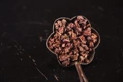 Surowe cacao stalówki na czerni fotografia royalty free