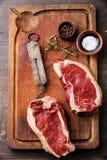 Surowego mięsa stek i rocznika bezmian Zdjęcie Royalty Free