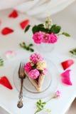 Surowego weganinu karmelu lody Bananowy Czekoladowy tort Fotografia Stock