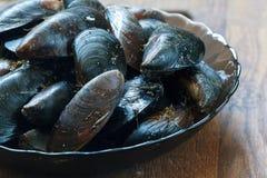 Surowi Czarni denni Mussels przygotowywający gotować Zdjęcia Stock