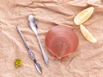 Surowi królowa przegrzebki z cytryną pokrajać, rozwidlenie i łyżka przygotowywa fo Zdjęcia Stock