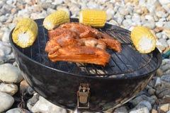 Surowi marynowani ziobro na plenerowym grillu zdjęcia royalty free