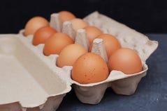 Surowi Rolni jajka na zmroku - błękitnego Drewnianego Nieociosanego tła Karmowy składnik Gotuje w domu obrazy stock