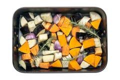 Surowi warzywa w Wypiekowej niecki Odgórnym widoku Odizolowywającym Zdjęcia Stock