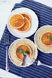 Surowi weganin krwionośnej pomarańcze tartlets Zdjęcie Stock