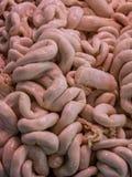 Surowi wieprzowin jelita w rynku zdjęcie royalty free