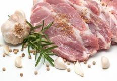 Surowi wieprzowiny mięsa stki z pikantność Obraz Royalty Free