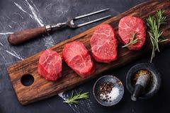 Surowy świeży marmurkowaty mięsny stek Fotografia Stock