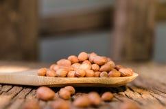 Surowy arachid na drewnianej łyżce zdjęcie stock
