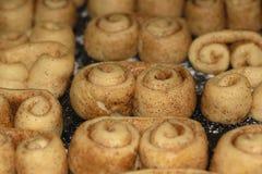 Surowy ciastka ciasto z cynamonem tworzył w brezel kształcie czeka gotującym w piekarniku Zdjęcie Stock