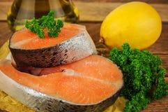 Surowy czerwony rybi stek Obrazy Stock