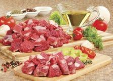 surowy deskowy tnący świeży mięso Zdjęcia Stock