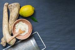Surowy horseradish i pikantność abstrakta wciąż życie Obraz Royalty Free