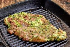 Surowy marynowany wieprzowina stek Fotografia Stock
