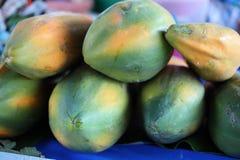 Surowy melonowiec zielonego kolor Gdy gotuje mięso będzie żółty pomarańcze Powszechnie jedzący świeży i gotujący zdjęcia stock