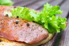 Surowy mięso z pikantność i świeżymi sałatkowymi liśćmi na starego rocznika drewnianym tle zdjęcie stock
