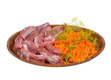 Surowy mięso, marchewka Fotografia Stock